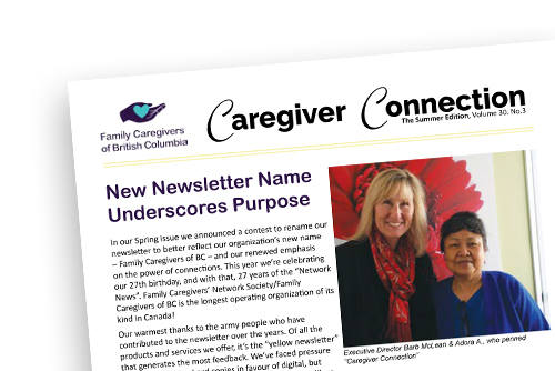 Caregiver Connection family caregivers newsletter